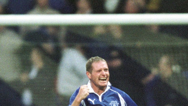 Paul Gascoigne spent two seasons at Everton between 2000 and 2002