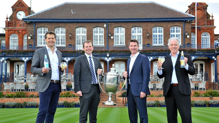 Fever-Tree co-founder and chief executive Tim Warrillow, tournament director Stephen Farrow, LTA chief executive Scott Lloyd, and Fever-Tree co-founder Charles Rolls at The Queen's Club (Photo: Adrian Brooks/Imagewise)
