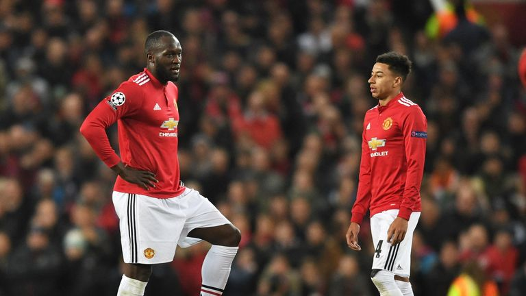 Manchester United duo Romelu Lukaku and Jesse Lingard look dejected during the defeat to Sevilla