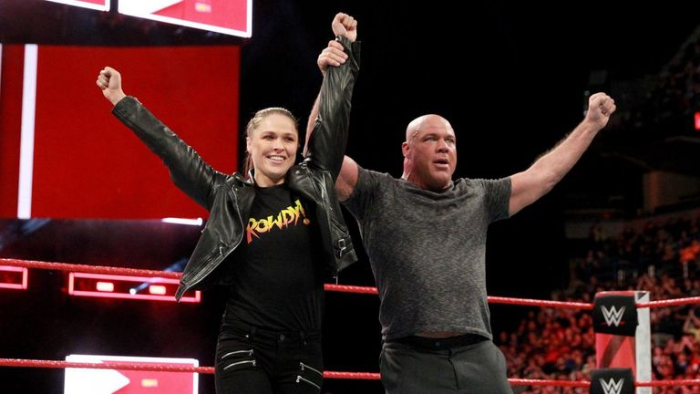 Ronda Rousey will team with Kurt Angle to take on Triple H and Stephanie McMahon at WrestleMania