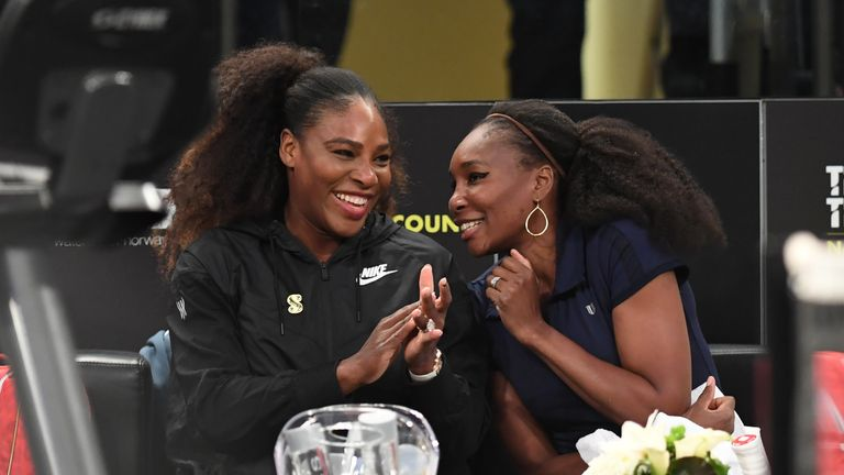 Serena Williams played with her sister Venus, right, in a Fed Cup doubles tie last month