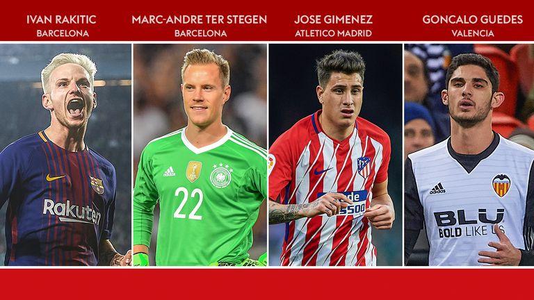 Ivan Rakitic, Marc-Andre ter Stegen, Jose Gimenez and Goncalo Guedes have shone in La Liga this season