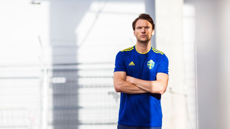 Albin Ekdal models the new Sweden World Cup 2018 away shirt (credit   adidasUK) 700160a9a