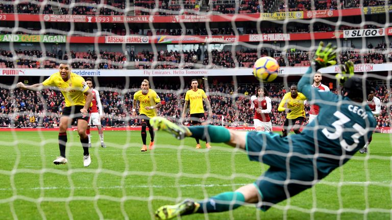 Troy Deeney sees his second-half penalty saved by Petr Cech