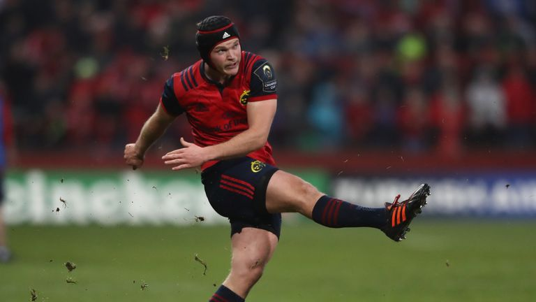 Tyler Bleyendaal kicks a penalty for Munster against Leicester Tigers