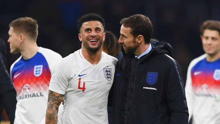 Kyle Walker featured for Man City on Sunday as he looks to make Gareth Southgate's World Cup squad
