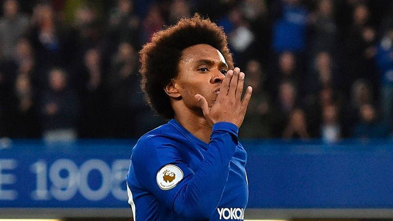 Willian scored in Chelsea's 2-1 win over Crystal Palace