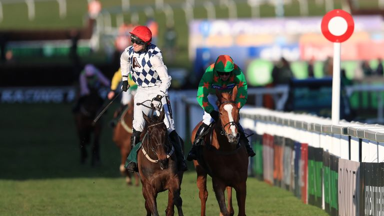 Ms Parfois (right) chases home Rathvinden at Cheltenham