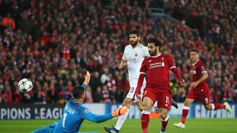 Salah's delightful dink doubled Liverpool's lead over Roma at Anfield