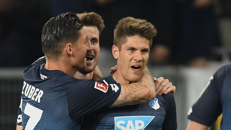 Andrej Kramaric (R) scored a hat-trick for Hoffenheim