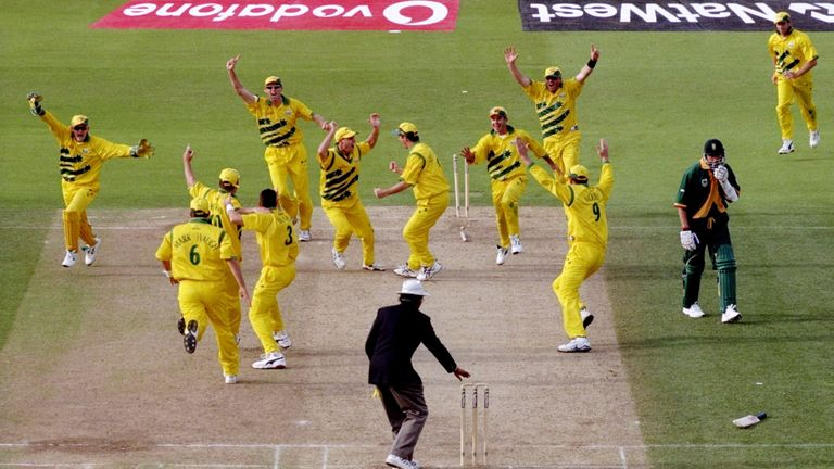 Australia celebrated wildly after Allan Donald's run out