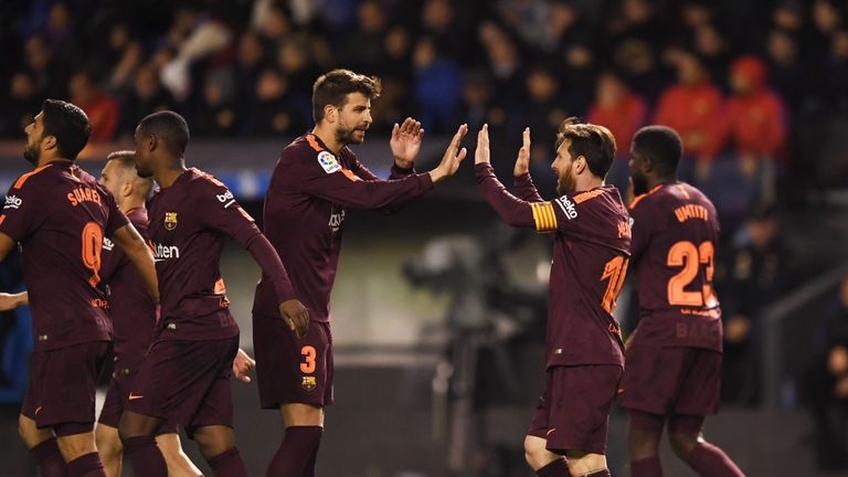Lionel Messi celebrates with Gerard Pique during Barcelona s 4-2 win over  Deportivo 36a665a0a6732