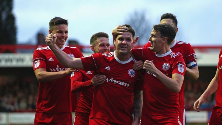 Billy Kee celebrates one of his two goals as Accrington Stanley secured promotion to League One with a 2-0 win over Yeovil