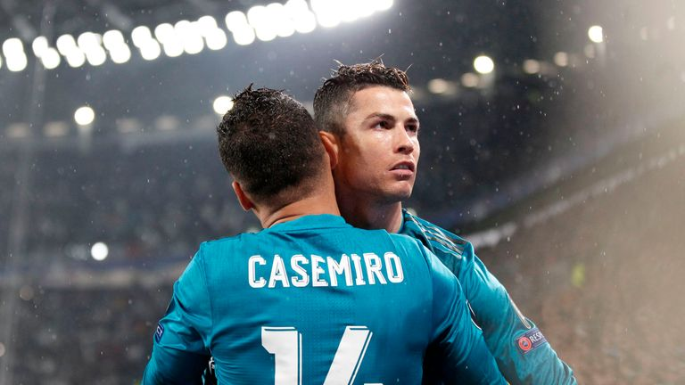 Ronaldo and Casemiro celebrate after Real Madrid's opener
