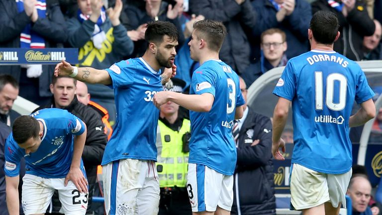 Daniel Candeias celebrates scoring Rangers' second goal against Hearts