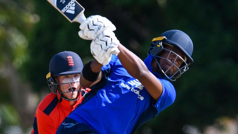 Delray Rawlins hits a six during the third match of last month's ECB North v South Series
