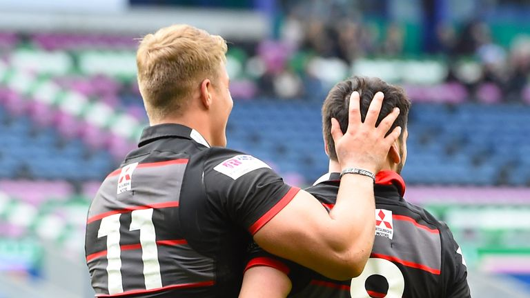 Edinburgh's Van der Merwe celebrates his second try of the match with the architect of it Hidalgo-Clyne