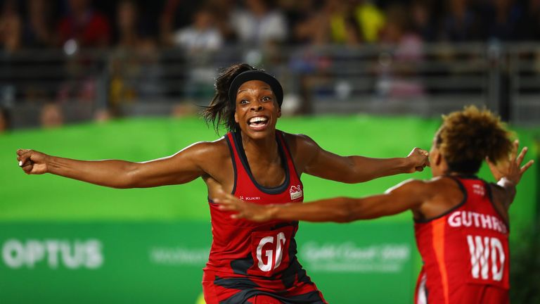 Eboni Beckford Chambers celebrates after England thrilling victory