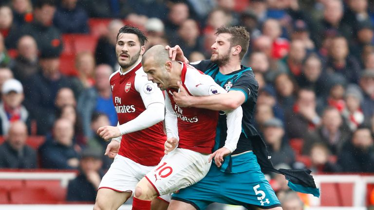 Jack Wilshere and Jack Stephens clash ended with the Southampton defender being sent off and Wilshere being shown a yellow card