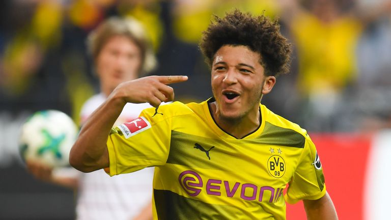 Jadon Sancho celebrates scoring for Dortmund