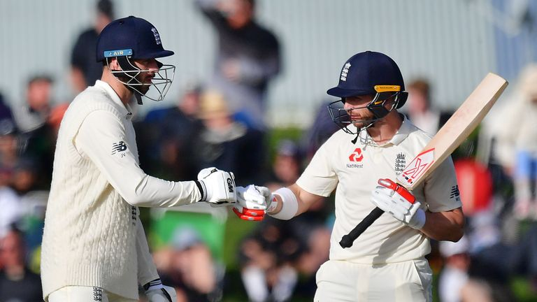 Stoneman (L) celebrates one of his four half centuries for England during the winter