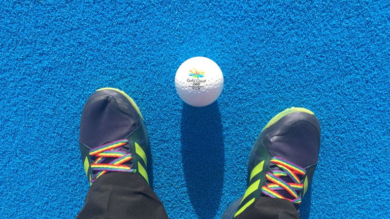 Hooper is proudly wearing his Rainbow Laces during the Games on Australia's Gold Coast