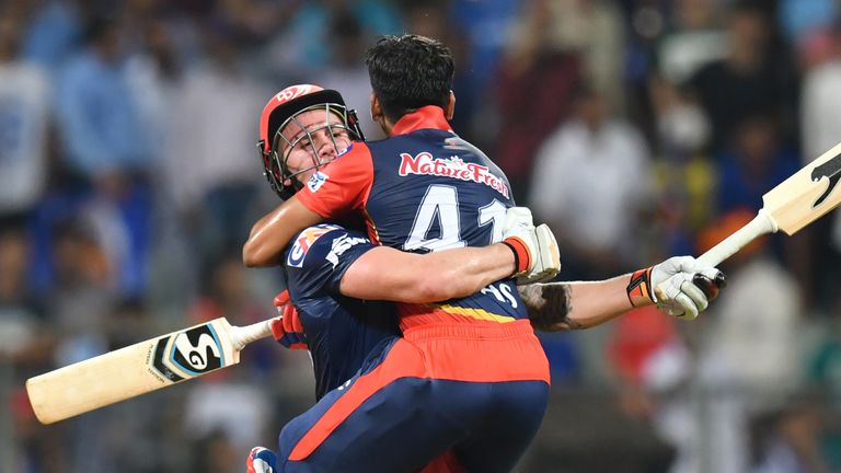 Roy and Shreyas Iyer celebrate Delhi's win over Mumbai in the IPL (Credit: AFP)