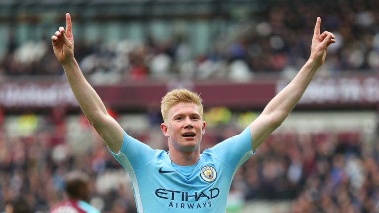 Kevin De Bruyne celebrates after his cross is deflected into the net by West Ham's Declan Rice