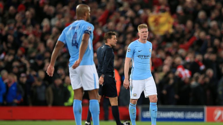 Kevin De Bruyne shows his frustration at Anfield