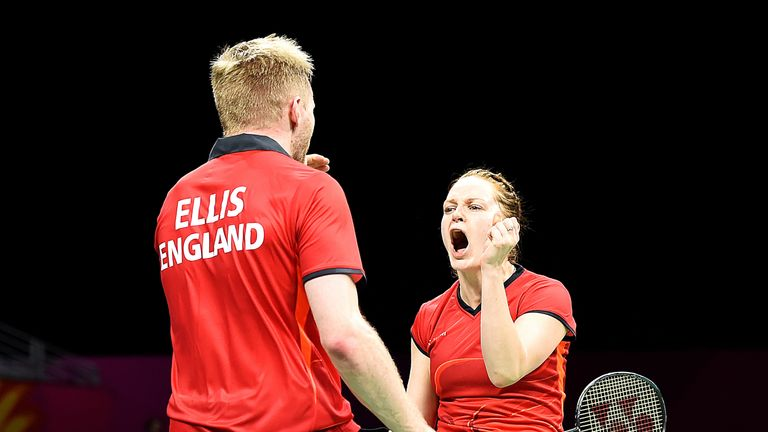 Lauren Smith and Marcus Ellis in action for England