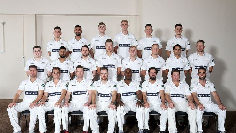 Abbas (middle row, second from right) lines up with his Leicestershire team-mates