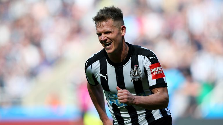 Matt Ritchie celebrates scoring what proved the winner for Newcastle