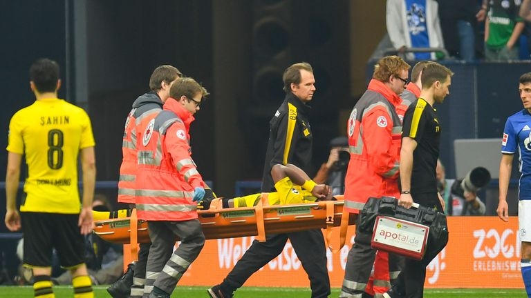 Batshuayi was stretchered off in stoppage time in Gelsenkirchen