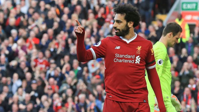 Mohamed Salah scored his 40th Liverpool goal of the season against Bournemouth