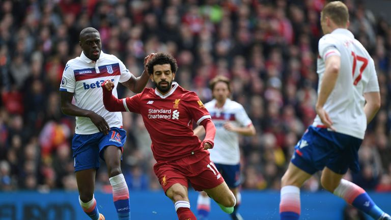 Mo Salah (right) and Bruno Martins Indi clash at Anfield on Saturday, but will the Egypt forward now face action from The FA?