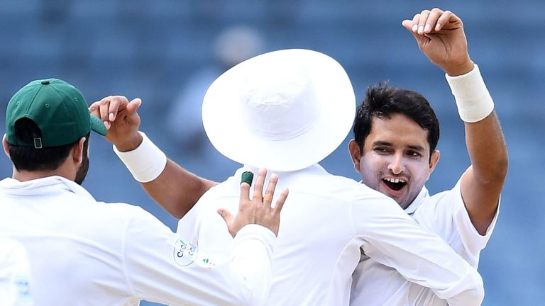 Abbas celebrates dismissing Karlos Brathwaite with his second ball in Test cricket