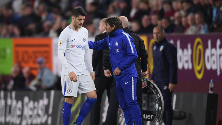 Morata was substituted by Conte in the second half against Burnley on Thursday