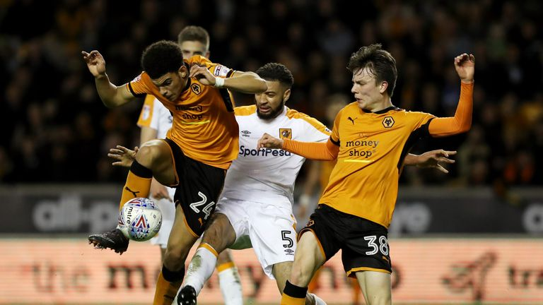 Wolves youngsters Gibbs-White and Oskar Buur in action against Hull