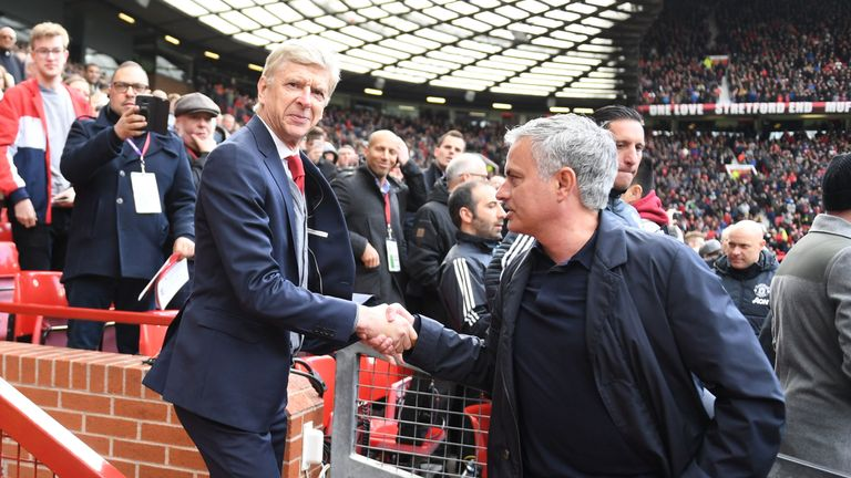 Wenger was given a warm reception at Old Trafford