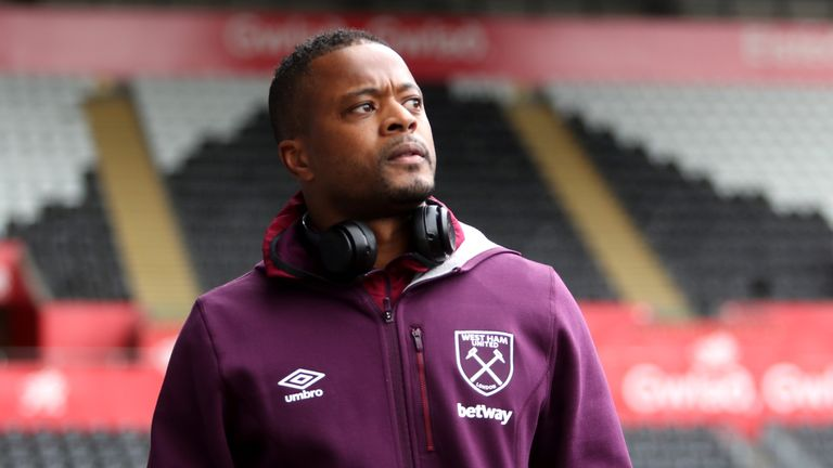 Evra played his final game for West Ham in 2018