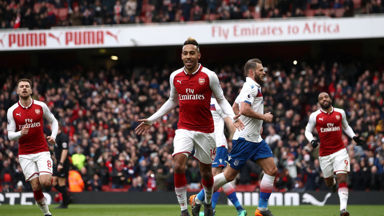 Arsenal's Pierre-Emerick Aubameyang has scored five goals in his first six Premier League games