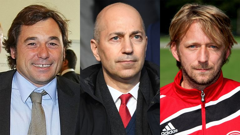 Head of football relations Raul Sanllehi (L), CEO Ivan Gazidis, and head of recruitment Sven Mislintat (R) will assist Unai Emery in the transfer window