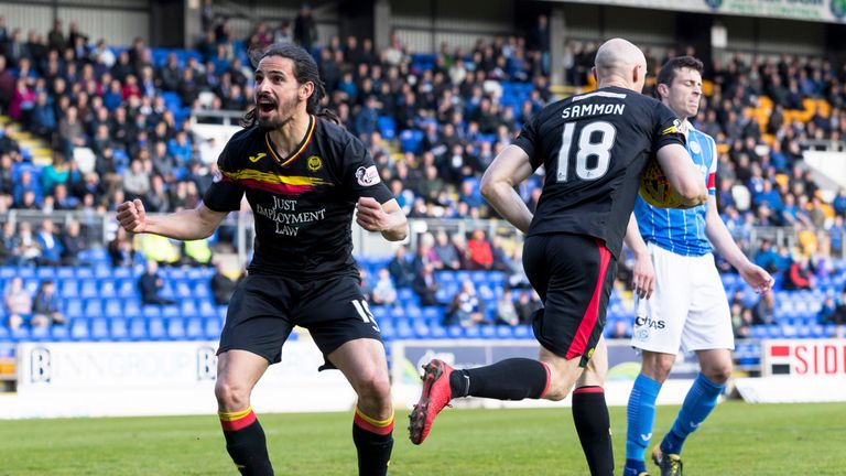 Patrick Thistle's Ryan Edwards celebrates Conor Sammon's penalty