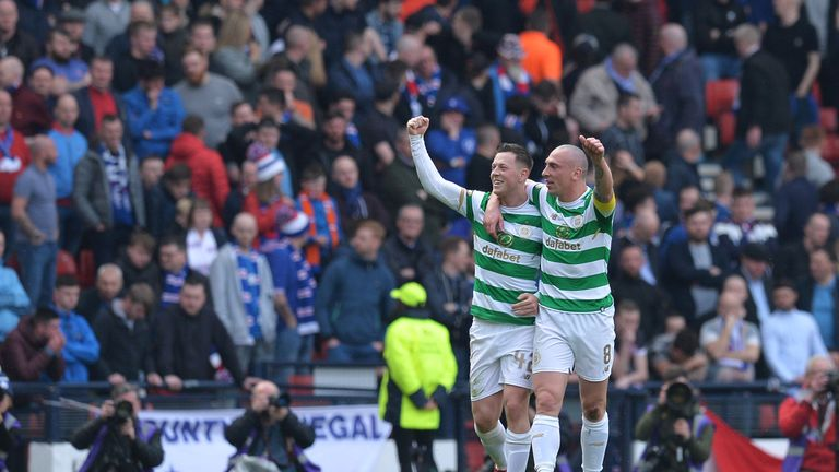 Callum McGregor of Celtic celebrates with team mate Scott Brown after scoring his sides second goal during the Scottish Cup Semi Final match between Rangers and Celtic in April.