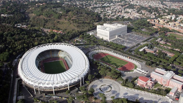 An aerial view of the Stadio Olimpico, where Liverpool will play Roma next week