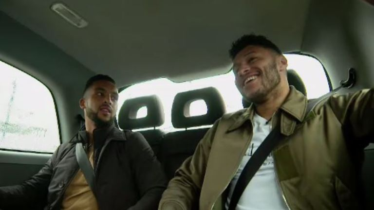 Ex-Arsenal team-mates Theo Walcott and Alex Oxlade-Chamberlain caught up during a taxi ride around Liverpool ahead of the Merseyside derby