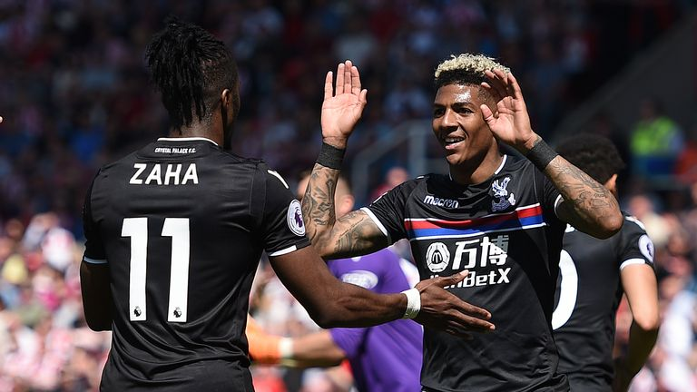 Patrick van Aanholt is congratulated after scoring Palace's winner