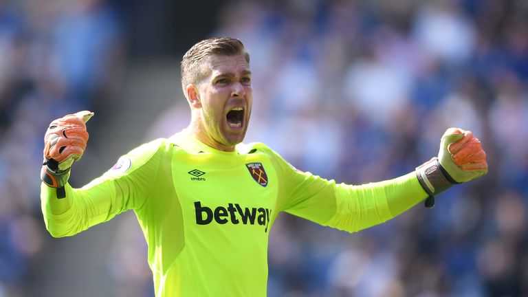 Adrian celebrates West Ham's opener against Leicester
