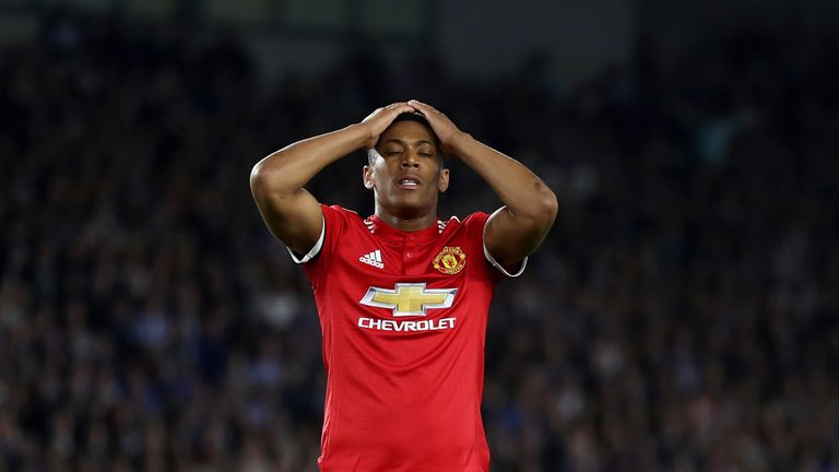 Anthony Martial during the Premier League match between Brighton and Hove Albion and Manchester United at Amex Stadium on May 4, 2018 in Brighton, England.