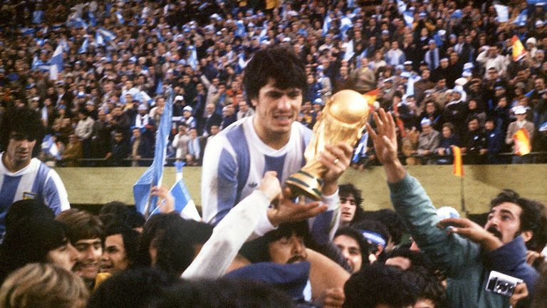 Argentina captain Daniel Passarella holds the World Cup trophy in 1978